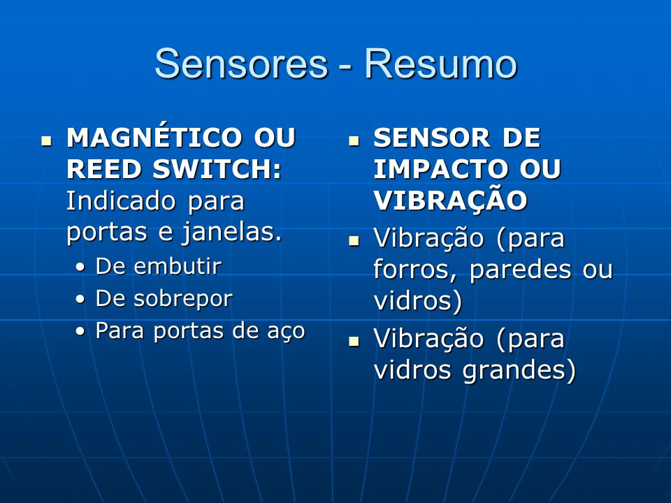 Sensores - Resumo MAGNÉTICO OU REED SWITCH: Indicado para portas e janelas. MAGNÉTICO OU REED SWITCH: Indicado para portas e janelas. De embutirDe emb