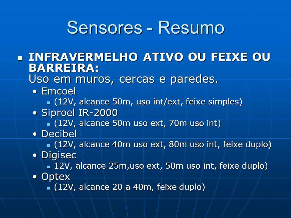 Sensores - Resumo INFRAVERMELHO ATIVO OU FEIXE OU BARREIRA: Uso em muros, cercas e paredes. INFRAVERMELHO ATIVO OU FEIXE OU BARREIRA: Uso em muros, ce