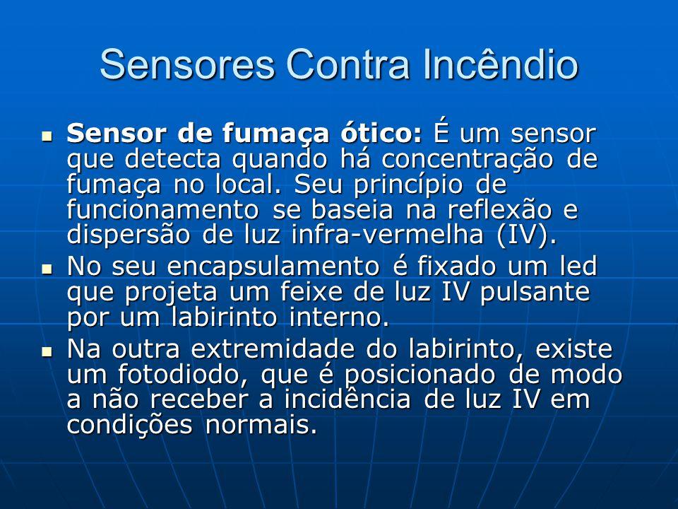 Sensores Contra Incêndio Sensor de fumaça ótico: É um sensor que detecta quando há concentração de fumaça no local. Seu princípio de funcionamento se