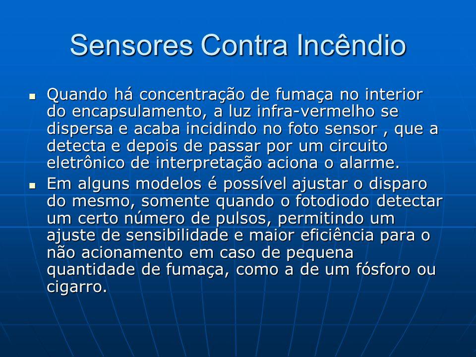 Sensores Contra Incêndio Quando há concentração de fumaça no interior do encapsulamento, a luz infra-vermelho se dispersa e acaba incidindo no foto se