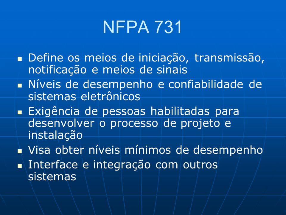 NFPA 731 Define os meios de iniciação, transmissão, notificação e meios de sinais Níveis de desempenho e confiabilidade de sistemas eletrônicos Exigên