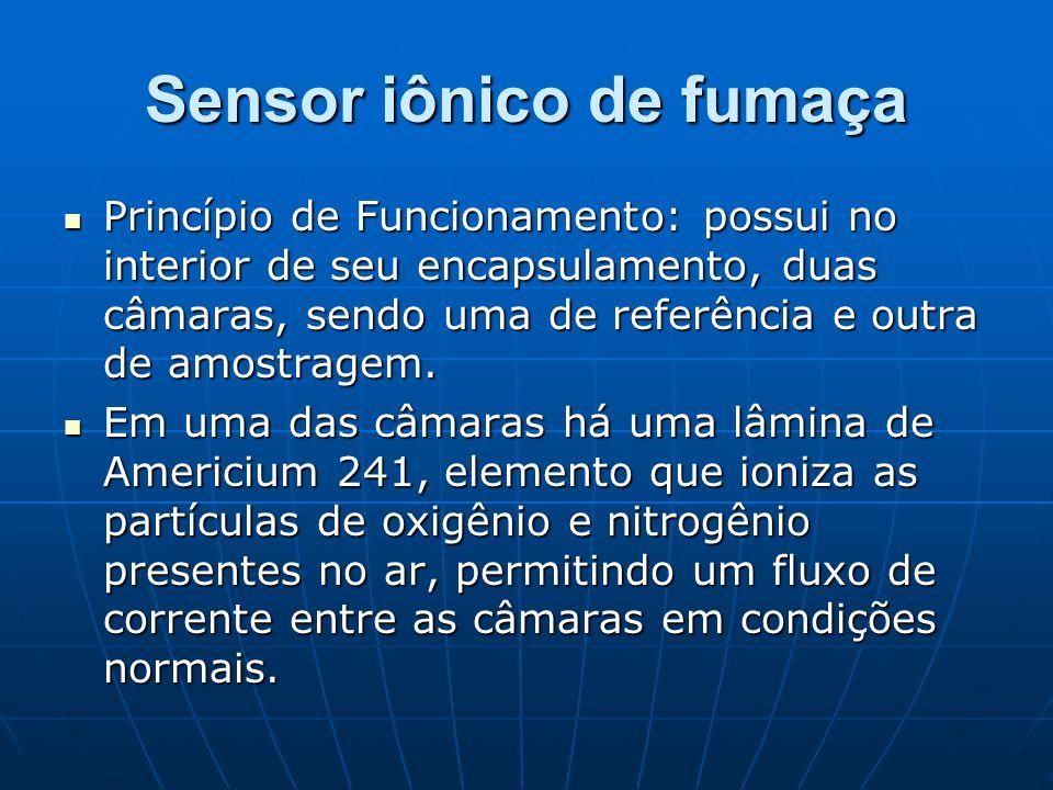 Sensor iônico de fumaça Princípio de Funcionamento: possui no interior de seu encapsulamento, duas câmaras, sendo uma de referência e outra de amostra