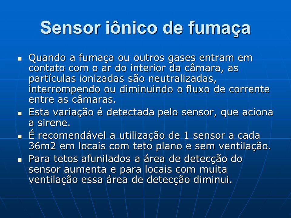 Sensor iônico de fumaça Quando a fumaça ou outros gases entram em contato com o ar do interior da câmara, as partículas ionizadas são neutralizadas, i