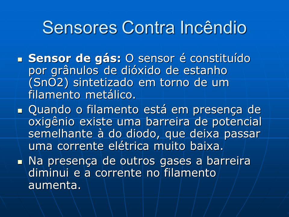 Sensores Contra Incêndio Sensor de gás: O sensor é constituído por grânulos de dióxido de estanho (SnO2) sintetizado em torno de um filamento metálico