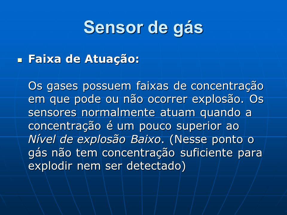 Sensor de gás Faixa de Atuação: Os gases possuem faixas de concentração em que pode ou não ocorrer explosão. Os sensores normalmente atuam quando a co
