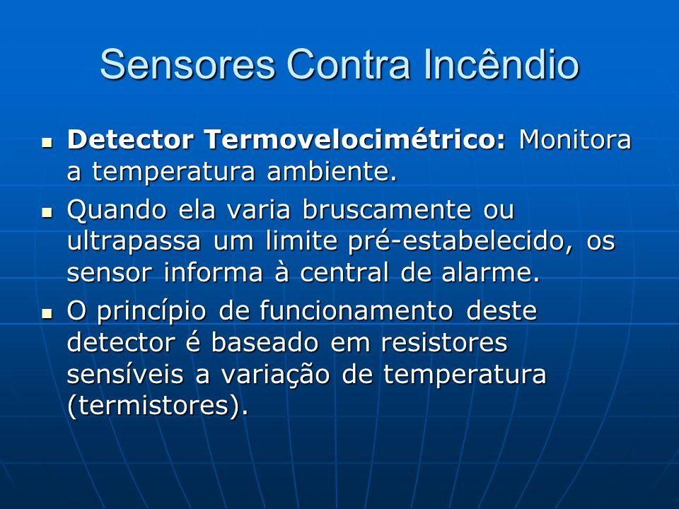 Sensores Contra Incêndio Detector Termovelocimétrico: Monitora a temperatura ambiente. Detector Termovelocimétrico: Monitora a temperatura ambiente. Q