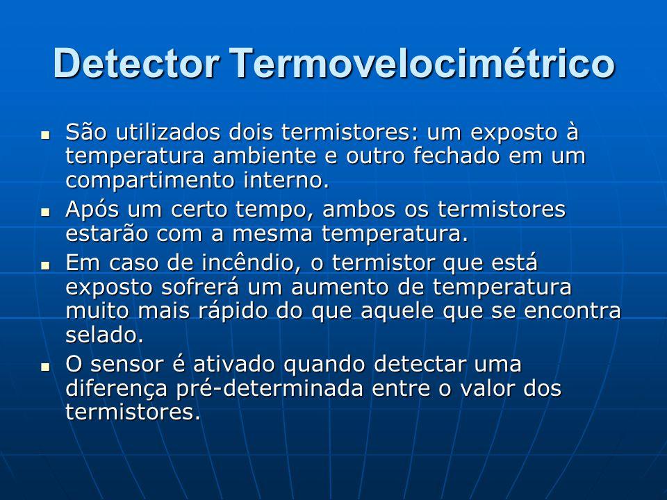 Detector Termovelocimétrico São utilizados dois termistores: um exposto à temperatura ambiente e outro fechado em um compartimento interno. São utiliz