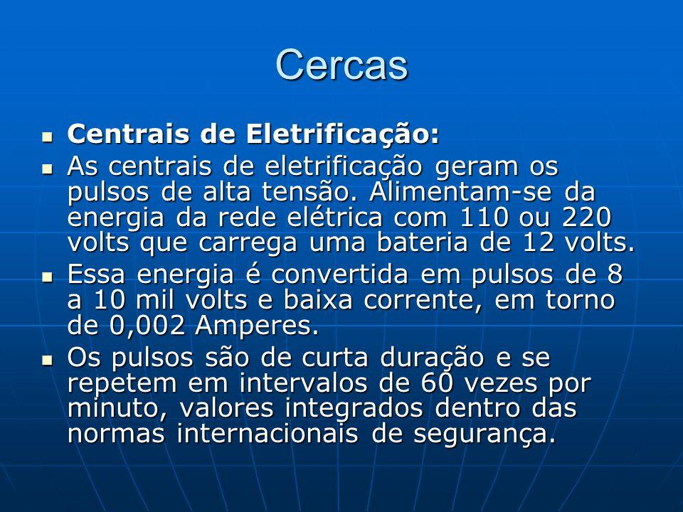 Cercas Centrais de Eletrificação: Centrais de Eletrificação: As centrais de eletrificação geram os pulsos de alta tensão. Alimentam-se da energia da r