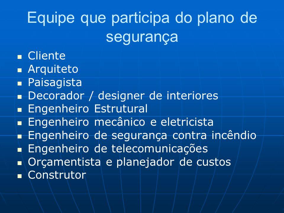 Equipe que participa do plano de segurança Cliente Arquiteto Paisagista Decorador / designer de interiores Engenheiro Estrutural Engenheiro mecânico e