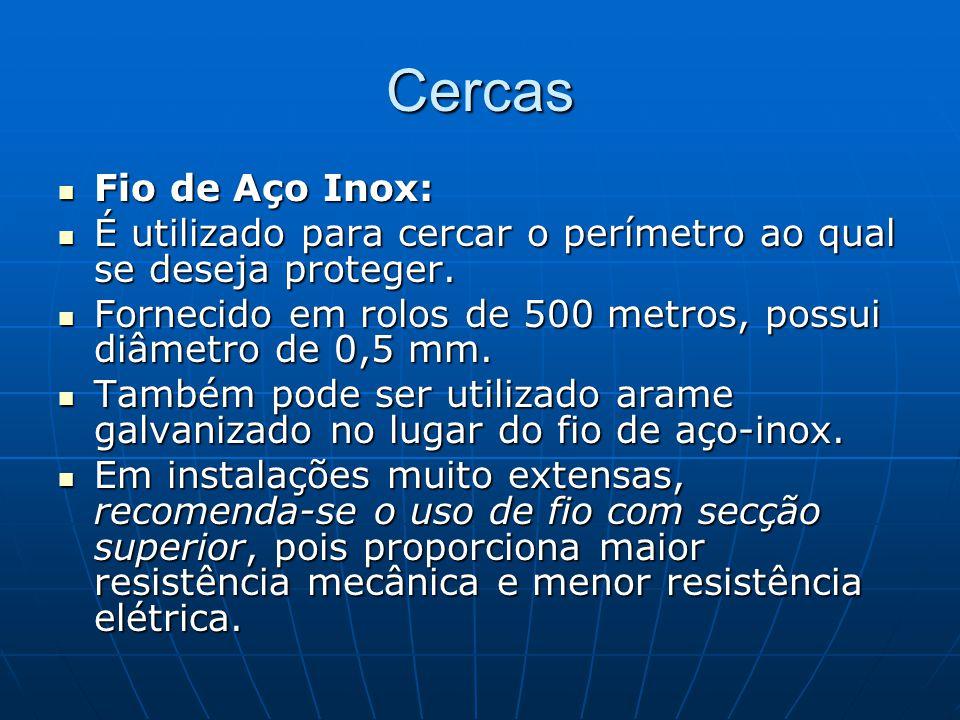 Cercas Fio de Aço Inox: Fio de Aço Inox: É utilizado para cercar o perímetro ao qual se deseja proteger. É utilizado para cercar o perímetro ao qual s
