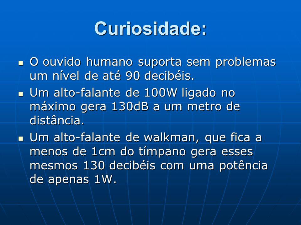 Curiosidade: O ouvido humano suporta sem problemas um nível de até 90 decibéis. O ouvido humano suporta sem problemas um nível de até 90 decibéis. Um