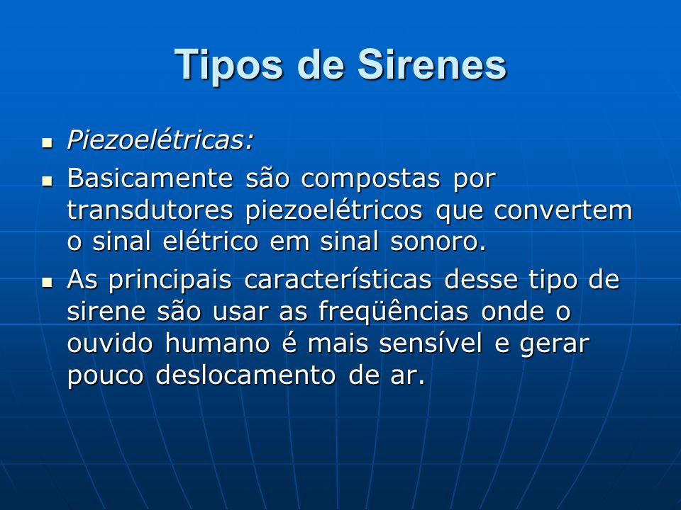 Tipos de Sirenes Piezoelétricas: Piezoelétricas: Basicamente são compostas por transdutores piezoelétricos que convertem o sinal elétrico em sinal son