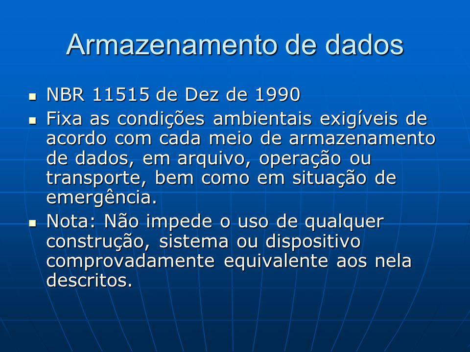 NBR 11515 de Dez de 1990 NBR 11515 de Dez de 1990 Fixa as condições ambientais exigíveis de acordo com cada meio de armazenamento de dados, em arquivo