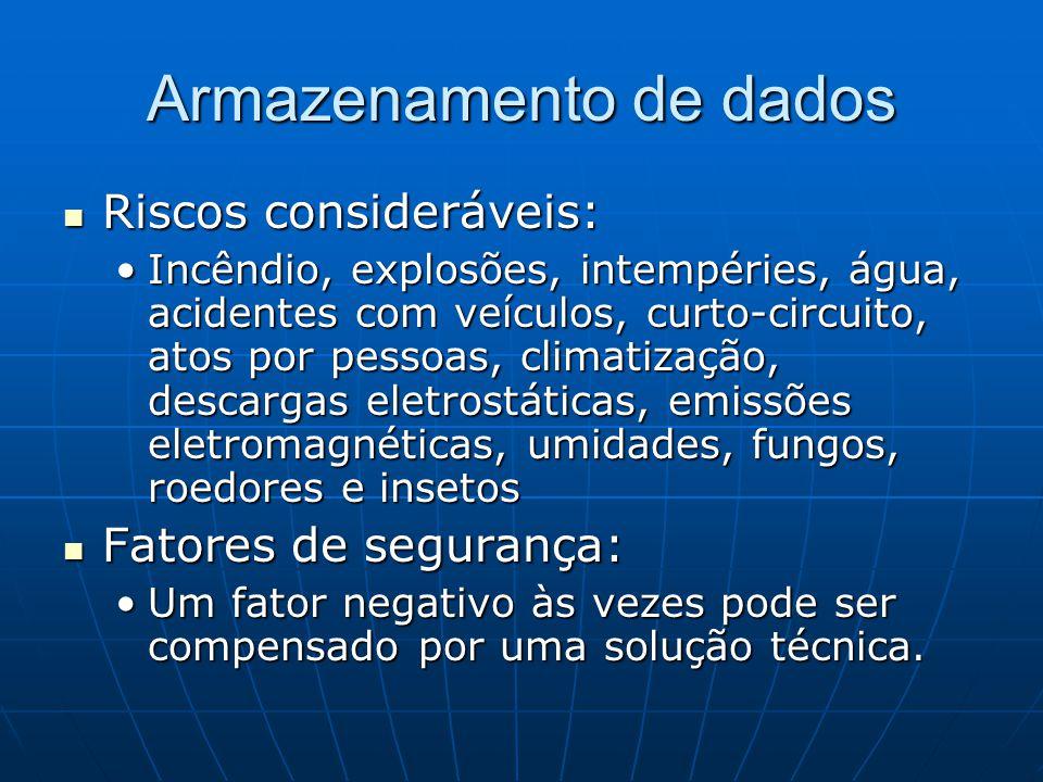 Armazenamento de dados Riscos consideráveis: Riscos consideráveis: Incêndio, explosões, intempéries, água, acidentes com veículos, curto-circuito, ato
