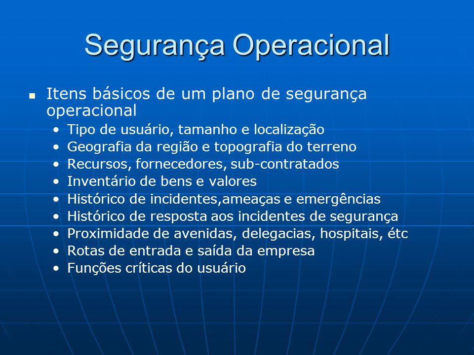 Segurança Operacional Itens básicos de um plano de segurança operacional Tipo de usuário, tamanho e localização Geografia da região e topografia do te