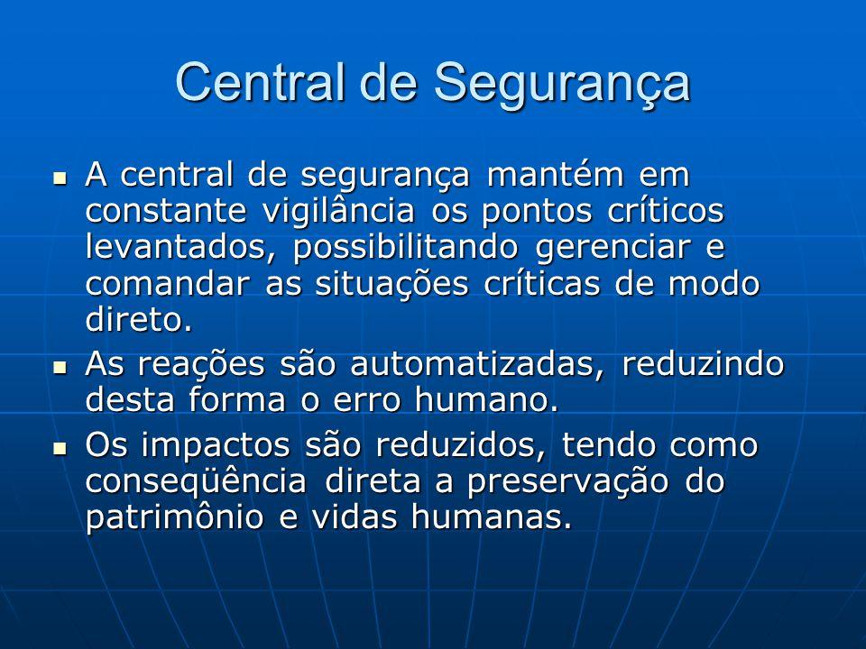 Central de Segurança A central de segurança mantém em constante vigilância os pontos críticos levantados, possibilitando gerenciar e comandar as situa