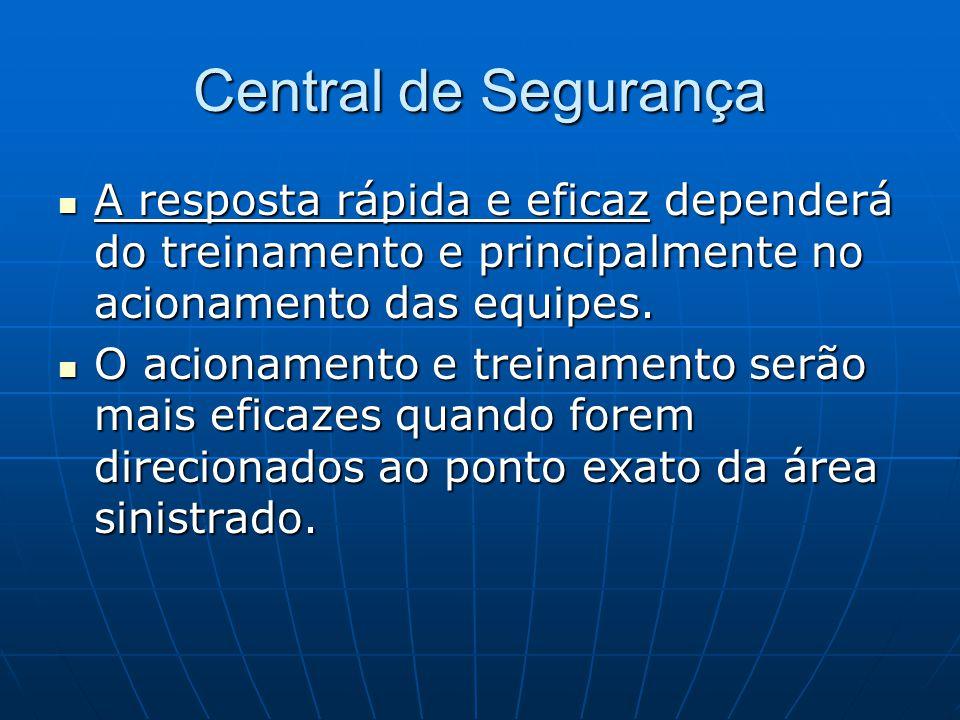 Central de Segurança A resposta rápida e eficaz dependerá do treinamento e principalmente no acionamento das equipes. A resposta rápida e eficaz depen