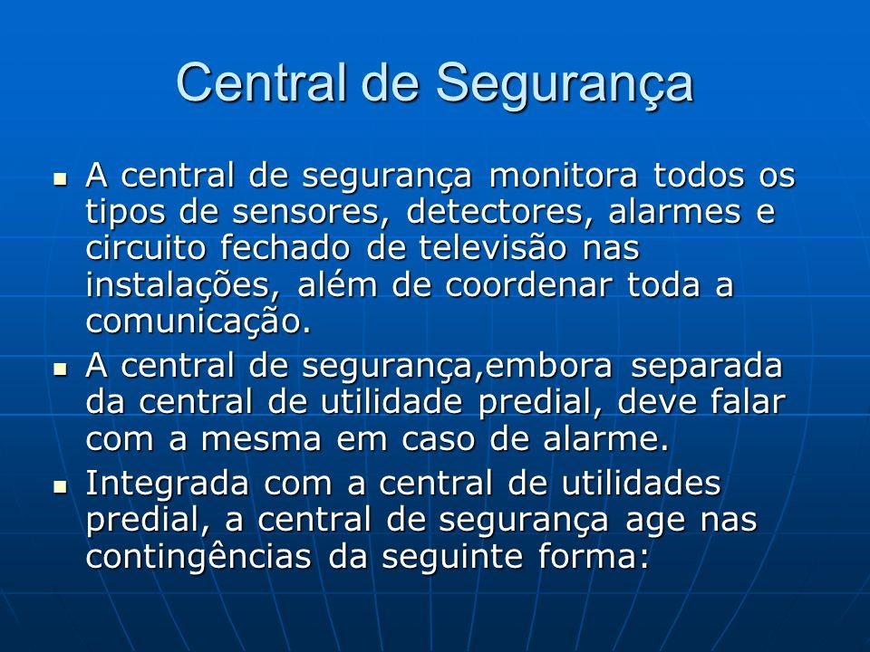 Central de Segurança A central de segurança monitora todos os tipos de sensores, detectores, alarmes e circuito fechado de televisão nas instalações,