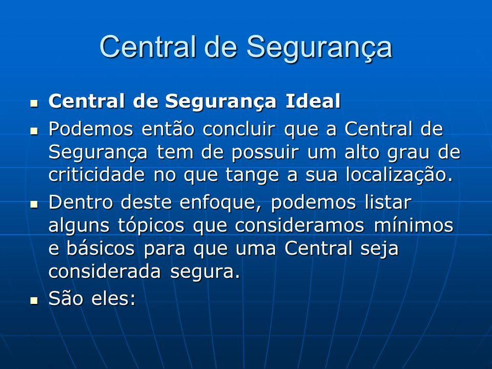 Central de Segurança Central de Segurança Ideal Central de Segurança Ideal Podemos então concluir que a Central de Segurança tem de possuir um alto gr