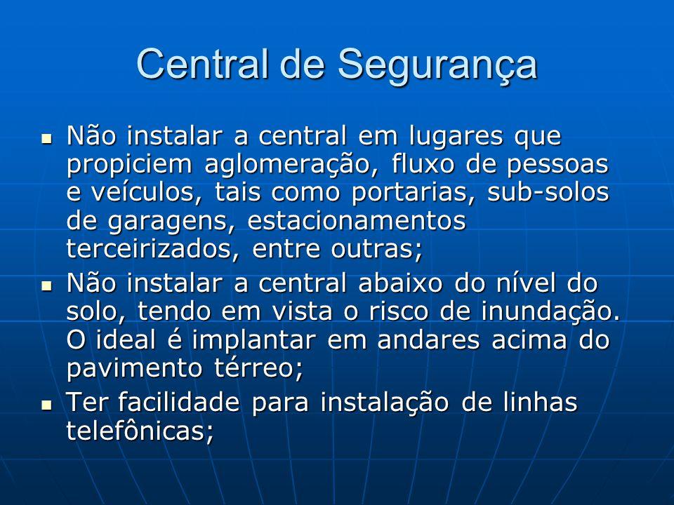 Central de Segurança Não instalar a central em lugares que propiciem aglomeração, fluxo de pessoas e veículos, tais como portarias, sub-solos de garag