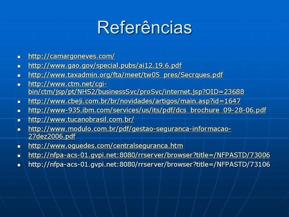 Referências http://camargoneves.com/ http://camargoneves.com/ http://camargoneves.com/ http://www.gao.gov/special.pubs/ai12.19.6.pdf http://www.gao.go