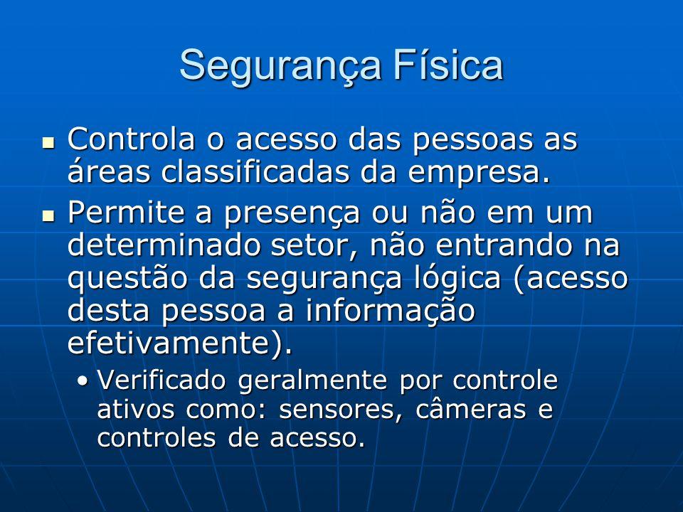 Segurança Física Controla o acesso das pessoas as áreas classificadas da empresa. Controla o acesso das pessoas as áreas classificadas da empresa. Per