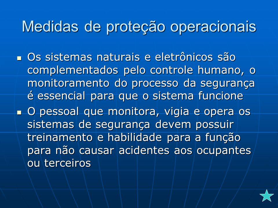 Medidas de proteção operacionais Os sistemas naturais e eletrônicos são complementados pelo controle humano, o monitoramento do processo da segurança