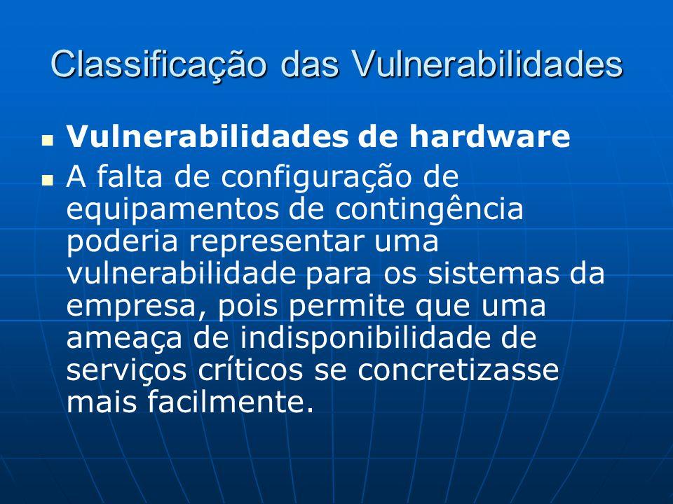 Classificação das Vulnerabilidades Vulnerabilidades de hardware A falta de configuração de equipamentos de contingência poderia representar uma vulner