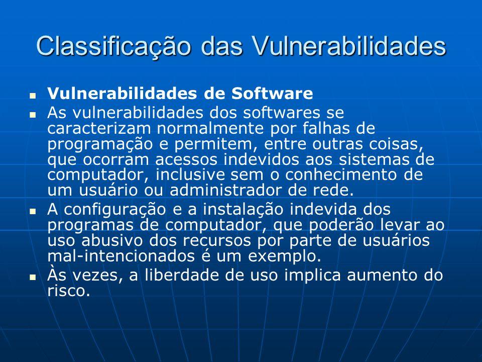 Classificação das Vulnerabilidades Vulnerabilidades de Software As vulnerabilidades dos softwares se caracterizam normalmente por falhas de programaçã