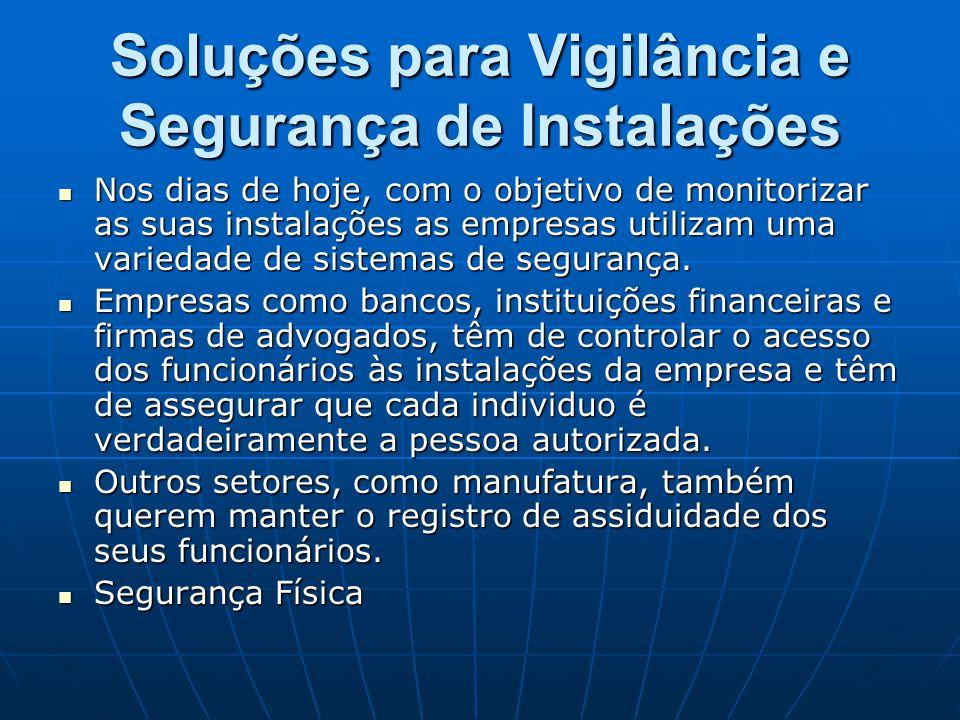 Soluções para Vigilância e Segurança de Instalações Nos dias de hoje, com o objetivo de monitorizar as suas instalações as empresas utilizam uma varie