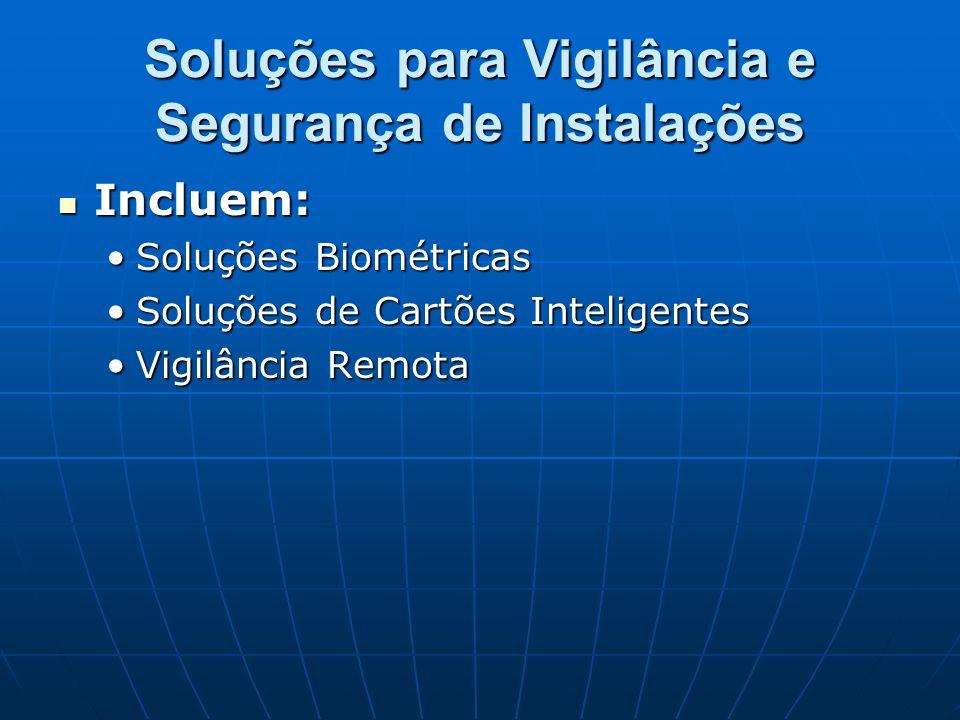 Soluções para Vigilância e Segurança de Instalações Incluem: Incluem: Soluções BiométricasSoluções Biométricas Soluções de Cartões InteligentesSoluçõe