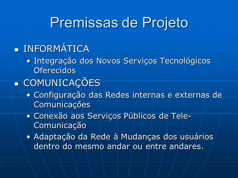 Premissas de Projeto INFORMÁTICA INFORMÁTICA Integração dos Novos Serviços Tecnológicos OferecidosIntegração dos Novos Serviços Tecnológicos Oferecido