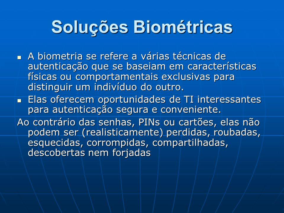 Soluções Biométricas A biometria se refere a várias técnicas de autenticação que se baseiam em características físicas ou comportamentais exclusivas p