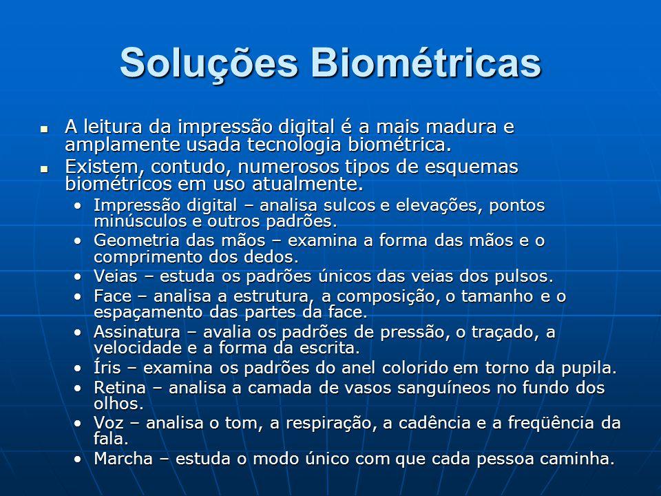Soluções Biométricas A leitura da impressão digital é a mais madura e amplamente usada tecnologia biométrica. A leitura da impressão digital é a mais