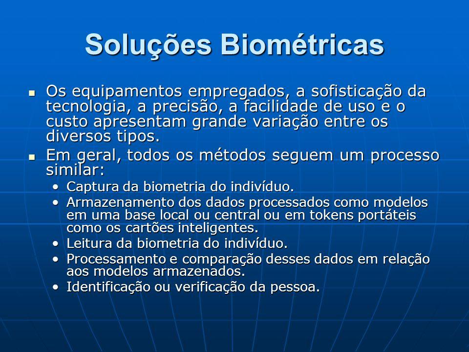 Soluções Biométricas Os equipamentos empregados, a sofisticação da tecnologia, a precisão, a facilidade de uso e o custo apresentam grande variação en