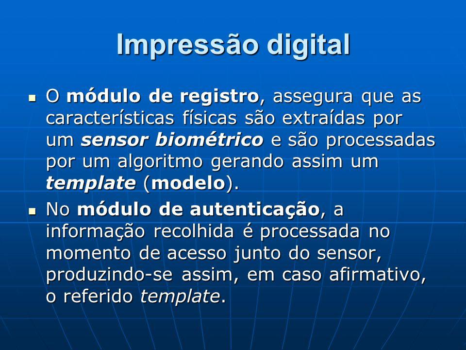 Impressão digital O módulo de registro, assegura que as características físicas são extraídas por um sensor biométrico e são processadas por um algori