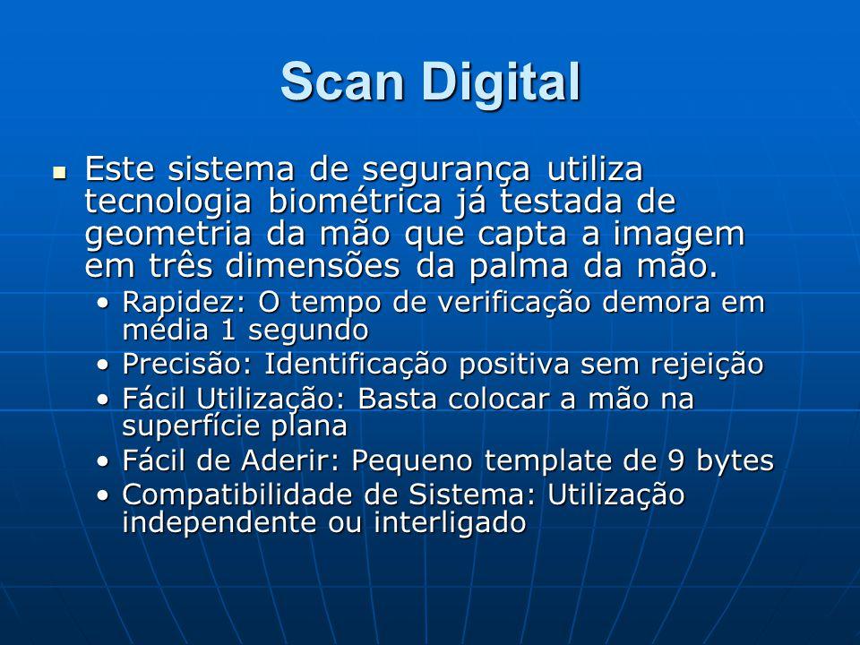 Scan Digital Este sistema de segurança utiliza tecnologia biométrica já testada de geometria da mão que capta a imagem em três dimensões da palma da m