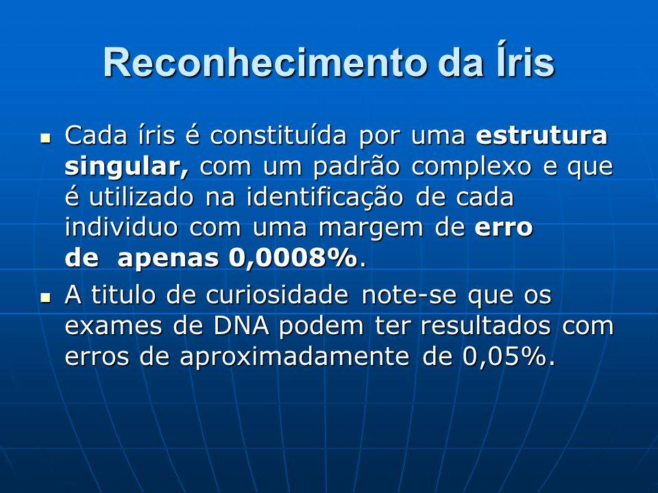 Reconhecimento da Íris Cada íris é constituída por uma estrutura singular, com um padrão complexo e que é utilizado na identificação de cada individuo