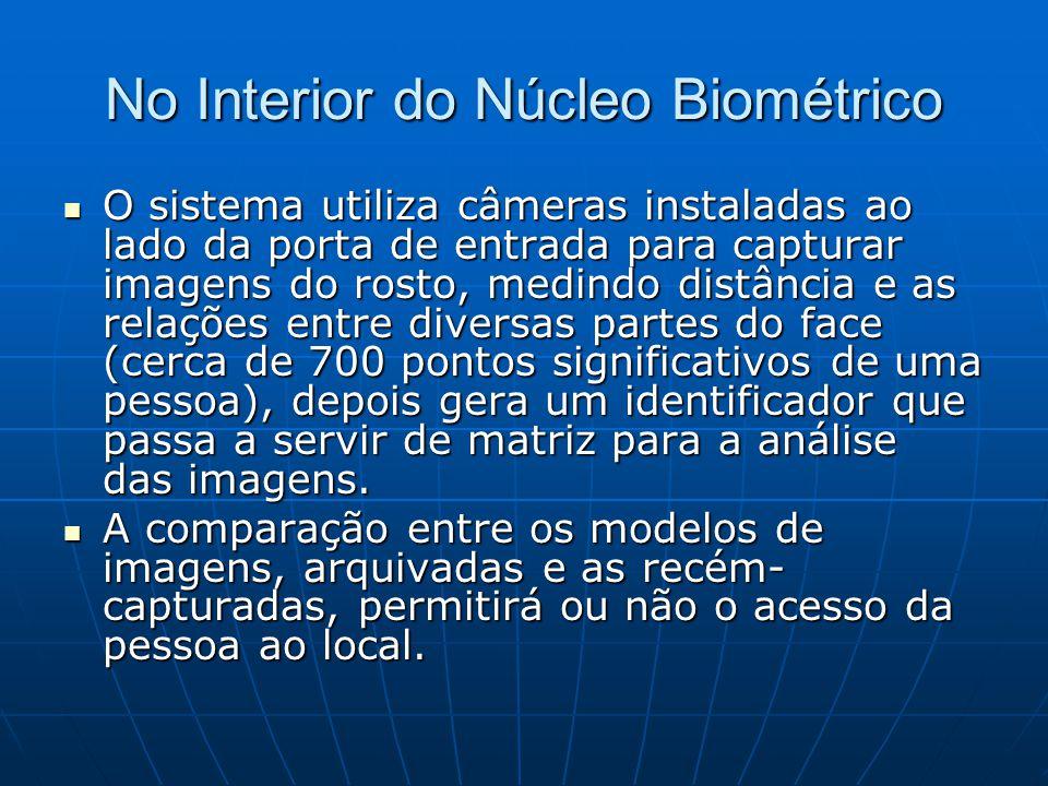 No Interior do Núcleo Biométrico O sistema utiliza câmeras instaladas ao lado da porta de entrada para capturar imagens do rosto, medindo distância e