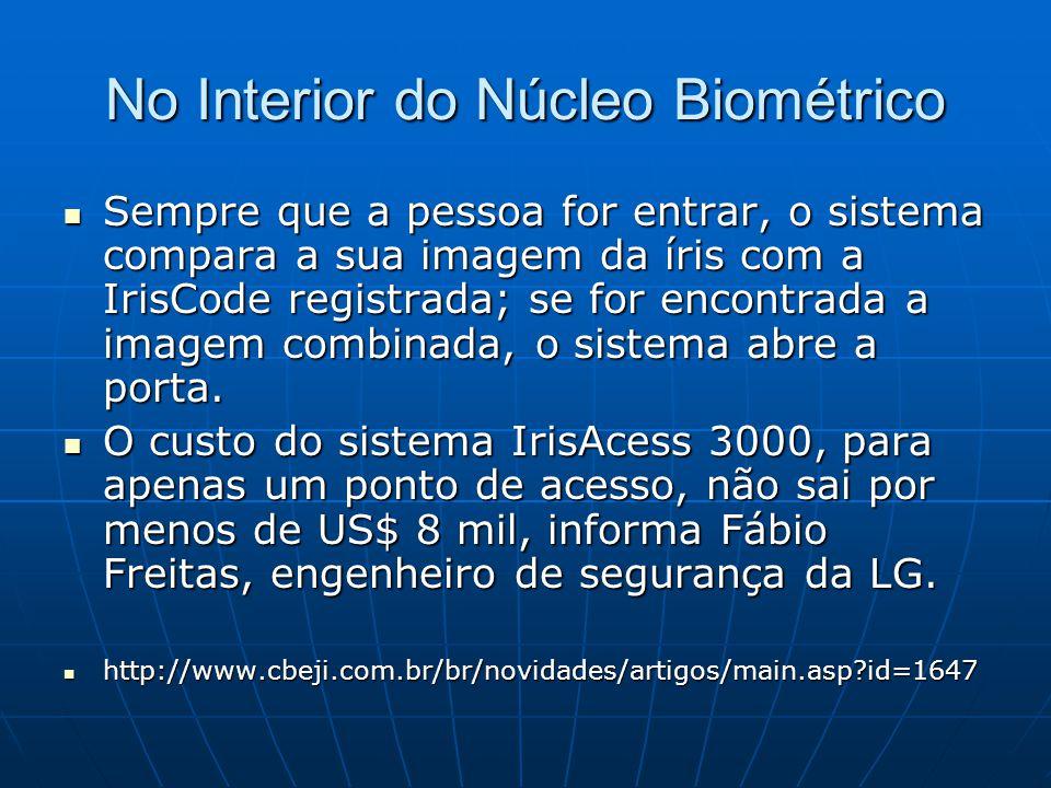 No Interior do Núcleo Biométrico Sempre que a pessoa for entrar, o sistema compara a sua imagem da íris com a IrisCode registrada; se for encontrada a
