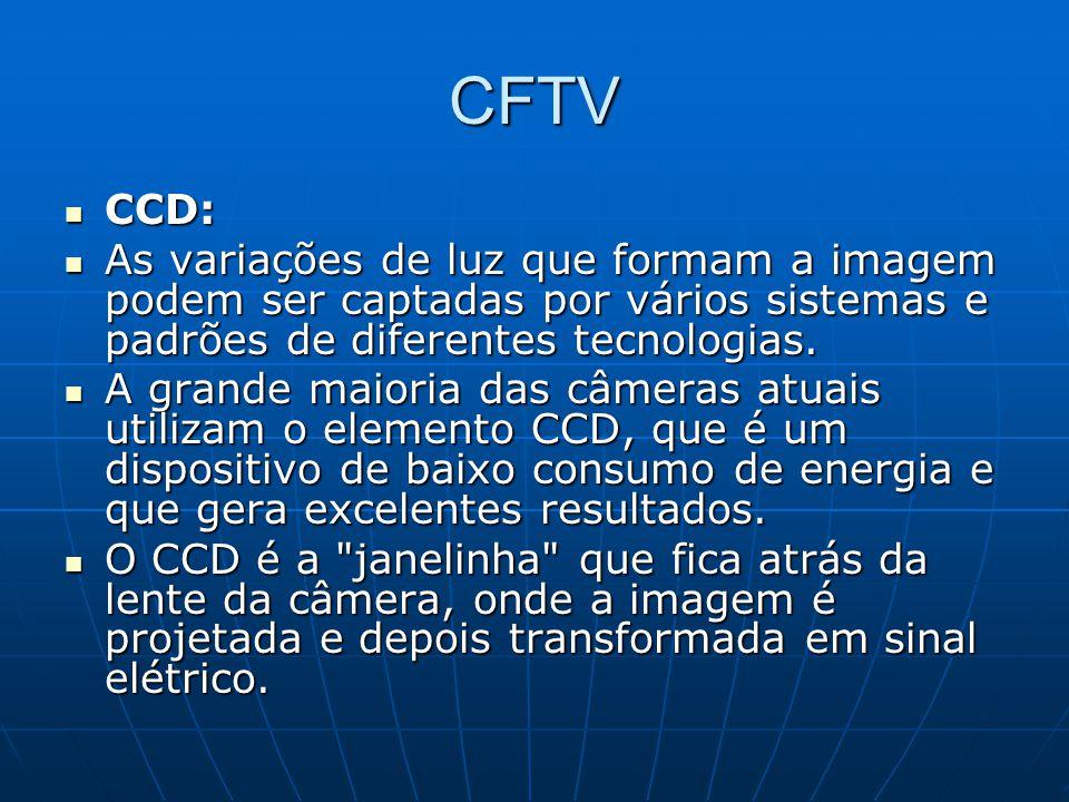CFTV CCD: CCD: As variações de luz que formam a imagem podem ser captadas por vários sistemas e padrões de diferentes tecnologias. As variações de luz