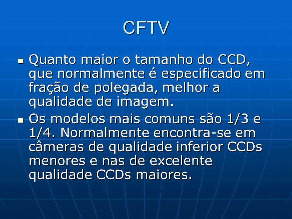 CFTV Quanto maior o tamanho do CCD, que normalmente é especificado em fração de polegada, melhor a qualidade de imagem. Quanto maior o tamanho do CCD,