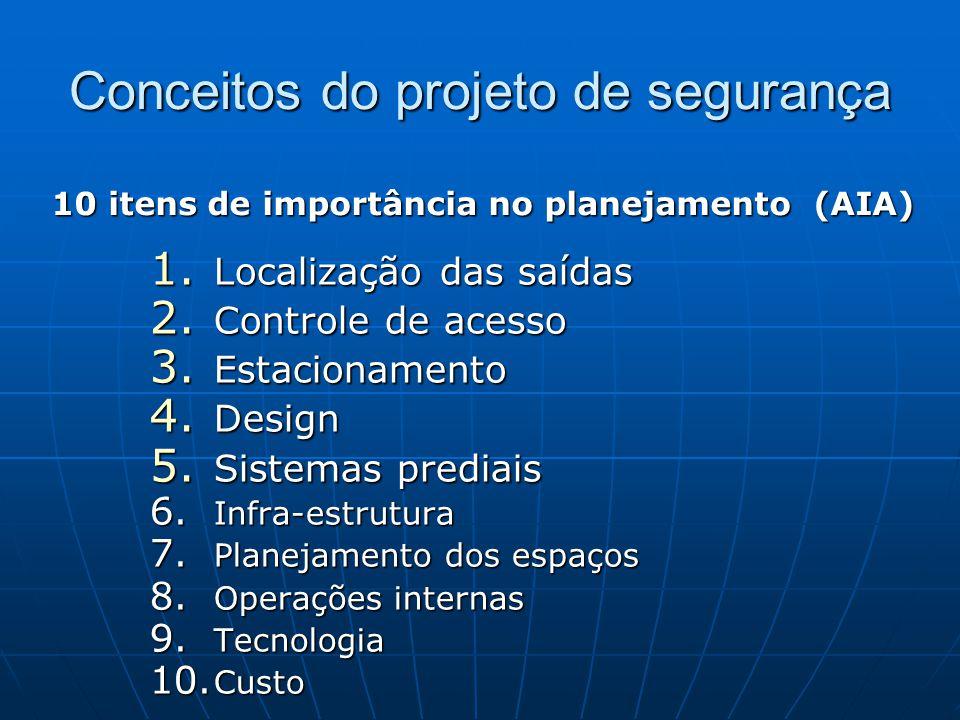 Conceitos do projeto de segurança 1. Localização das saídas 2. Controle de acesso 3. Estacionamento 4. Design 5. Sistemas prediais 6. Infra-estrutura