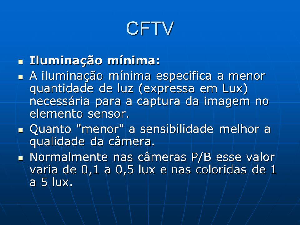 CFTV Iluminação mínima: Iluminação mínima: A iluminação mínima especifica a menor quantidade de luz (expressa em Lux) necessária para a captura da ima