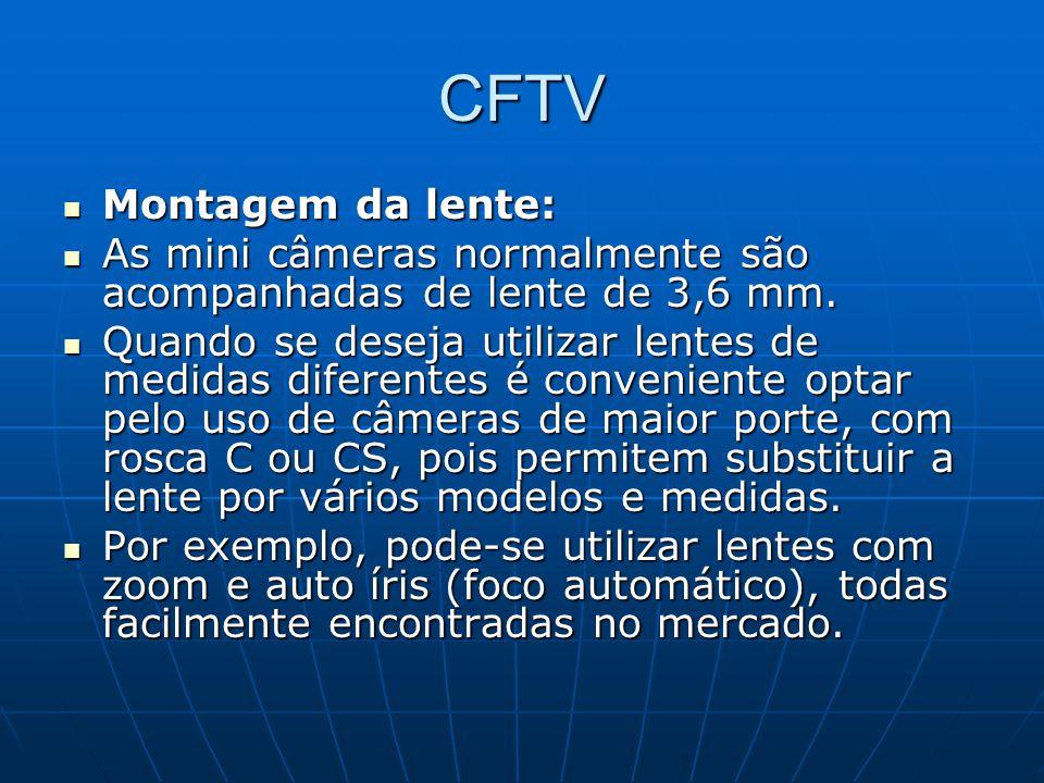 CFTV Montagem da lente: Montagem da lente: As mini câmeras normalmente são acompanhadas de lente de 3,6 mm. As mini câmeras normalmente são acompanhad
