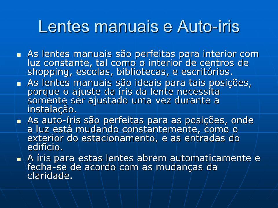 Lentes manuais e Auto-iris As lentes manuais são perfeitas para interior com luz constante, tal como o interior de centros de shopping, escolas, bibli