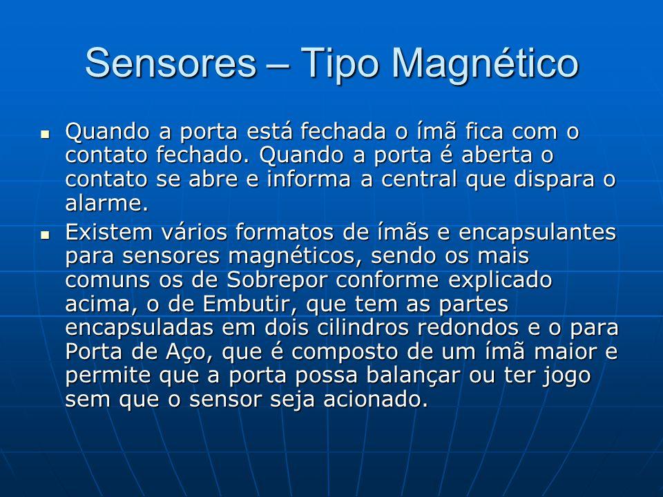 Sensores – Tipo Magnético Quando a porta está fechada o ímã fica com o contato fechado. Quando a porta é aberta o contato se abre e informa a central
