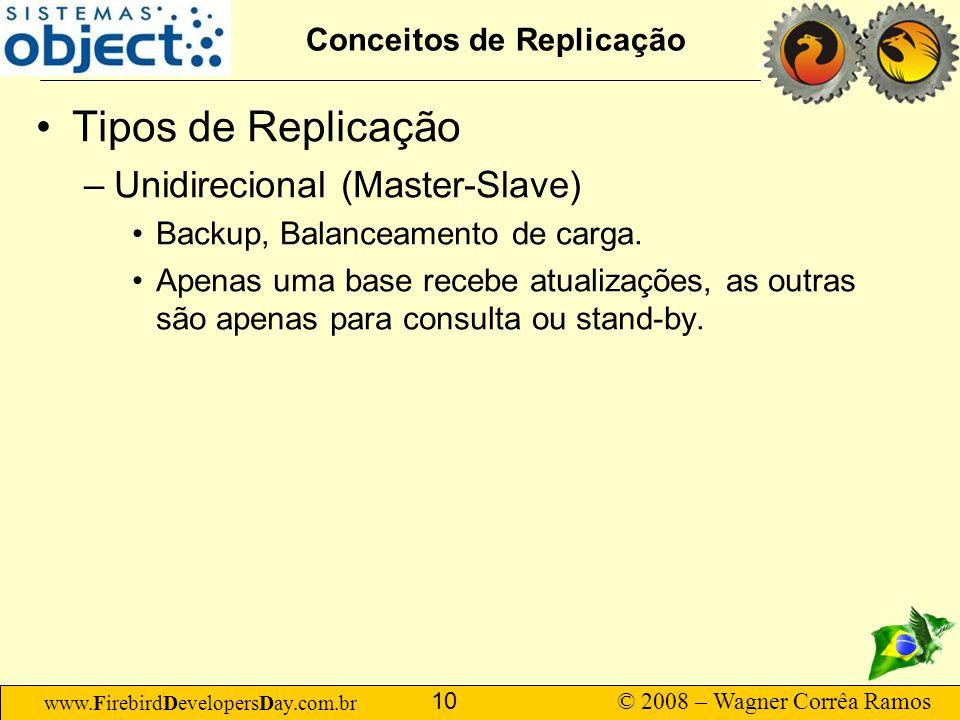 www.FirebirdDevelopersDay.com.br © 2008 – Wagner Corrêa Ramos 10 Conceitos de Replicação Tipos de Replicação –Unidirecional (Master-Slave) Backup, Ba