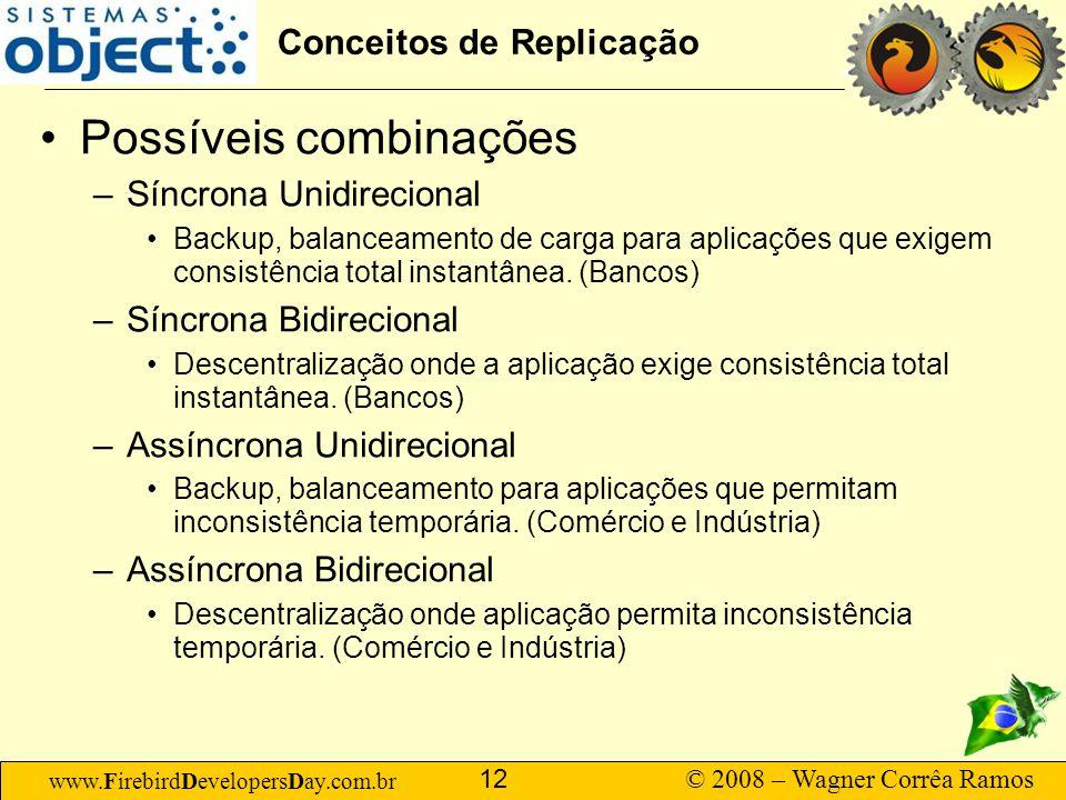 www.FirebirdDevelopersDay.com.br © 2008 – Wagner Corrêa Ramos 12 Conceitos de Replicação Possíveis combinações –Síncrona Unidirecional Backup, balance