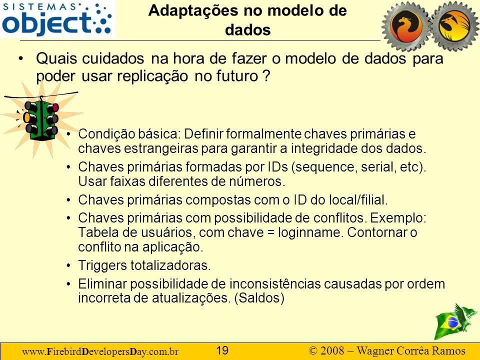 www.FirebirdDevelopersDay.com.br © 2008 – Wagner Corrêa Ramos 19 Adaptações no modelo de dados Quais cuidados na hora de fazer o modelo de dados para